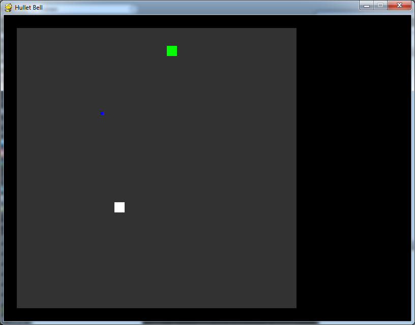 The white box is the player, the green box is a baddie, and the blue one is a bullet! This is cutting edge stuff, guys.